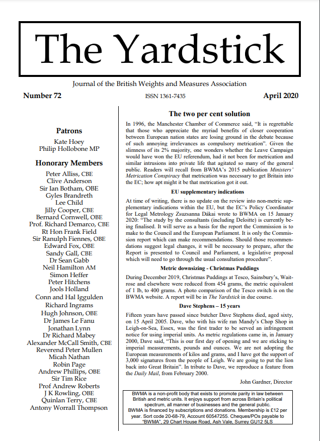 The Yardstick: The BWMA's Newsletter
